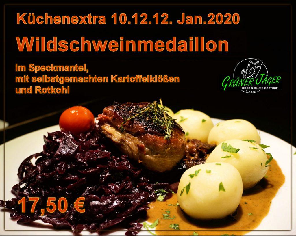 Küchenextra Wildschweinmedaillon Grüner Jäger