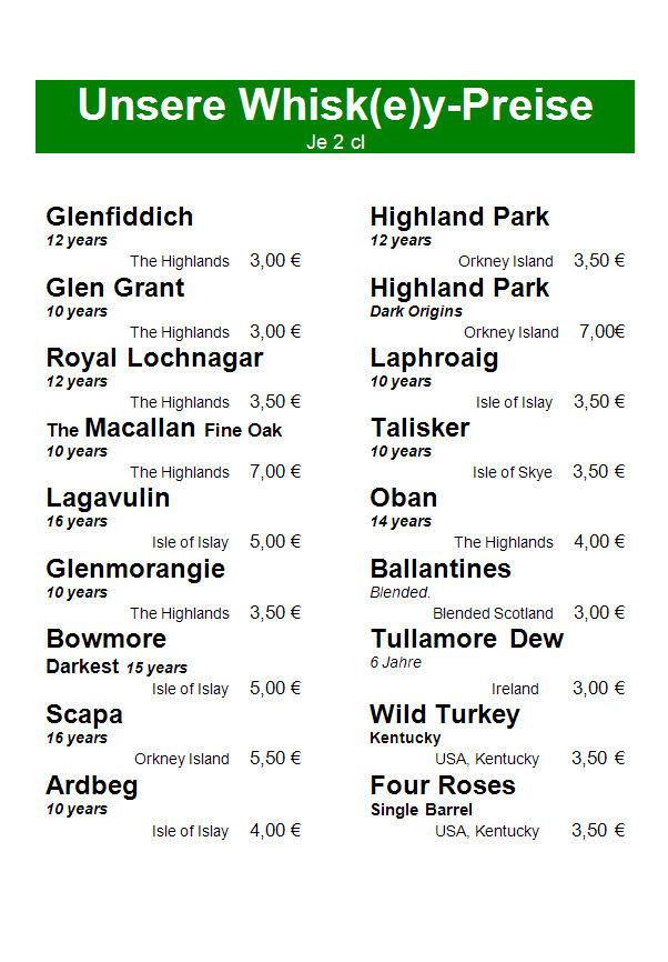 Whiskykarte Preise