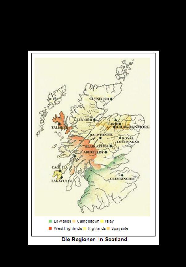 Whiskykarte Regionen