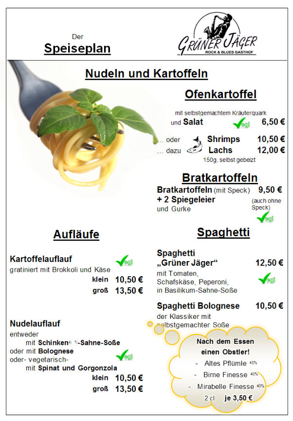 Speisekarte Grüner Jäger 11