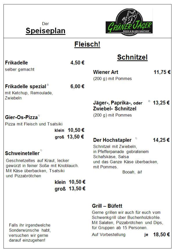 Speisekarte Grüner Jäger 13